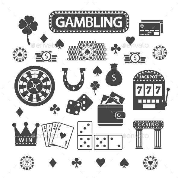 Gambling Silhouette Icons Set