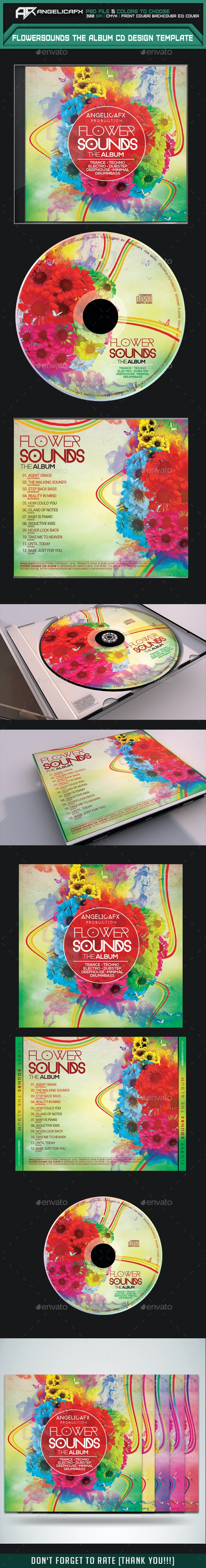 Flower Sounds The Album CD Design Template - CD & DVD Artwork Print Templates