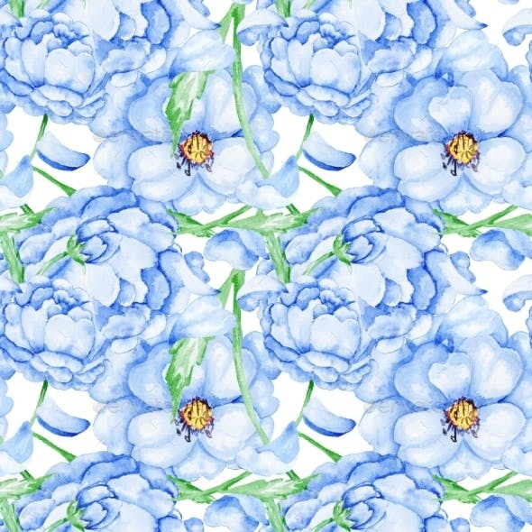 Watercolor Blue Flower Pattern