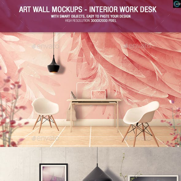 Art Wall Mockups - Interior Work Desk