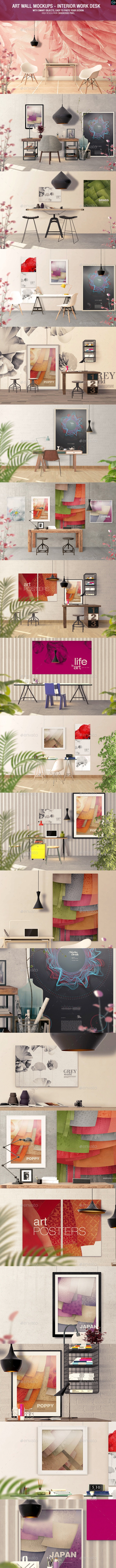 Art Wall Mockups - Interior Work Desk - Hero Images Graphics