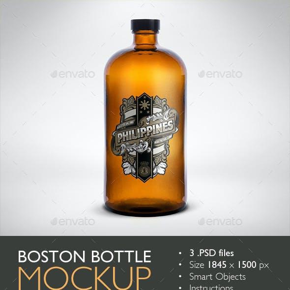 Boston Round Bottle Mockup
