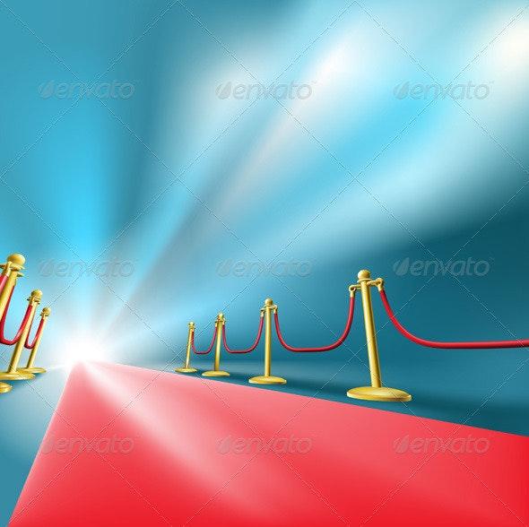 Red Carpet Fame Concept Background - Conceptual Vectors