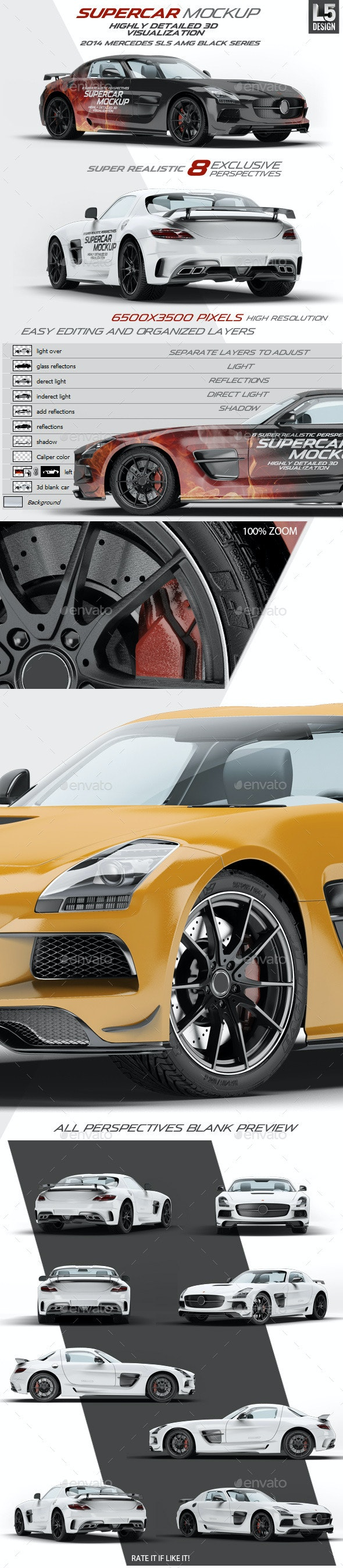 Supercar Mercedes SLS AMG Mock-Up - Vehicle Wraps Print