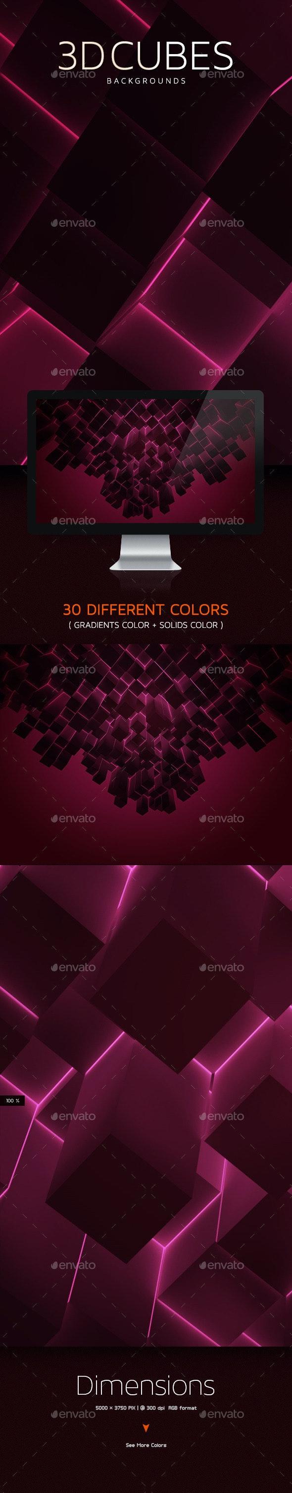 3D Cubes Backgrounds  - 3D Backgrounds