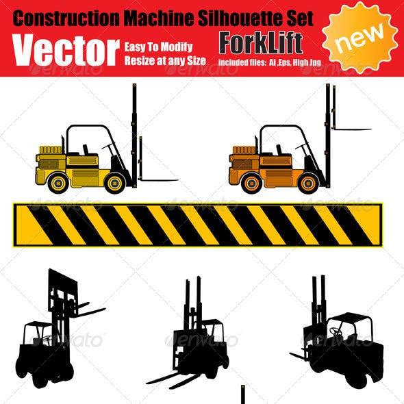 Vector Forklift Silhouette Set