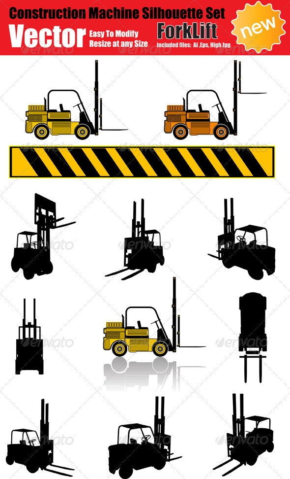 Vector Forklift Silhouette Set - Industries Business
