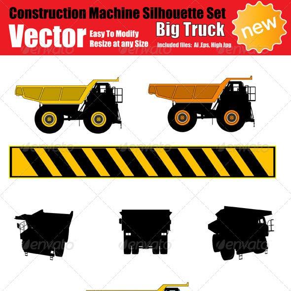 Vector Big Truck Silhouette Set