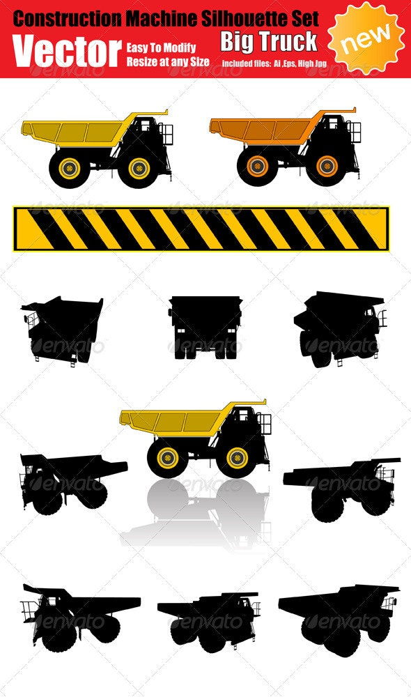 Vector Big Truck Silhouette Set - Industries Business