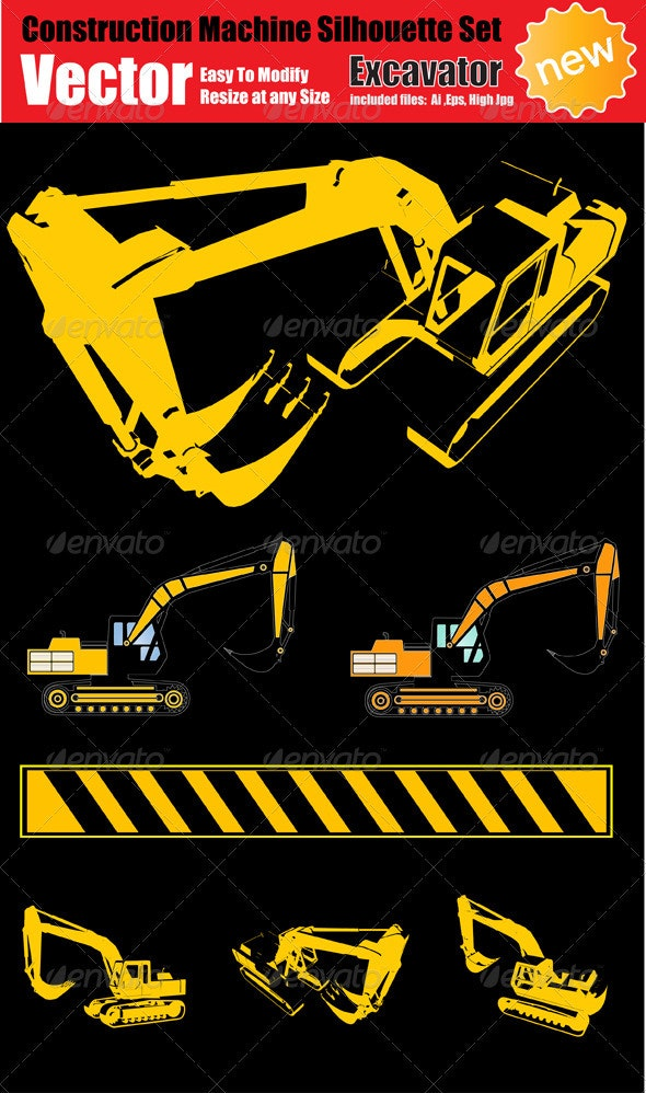 Vector Excavator Silhouette Set - Industries Business