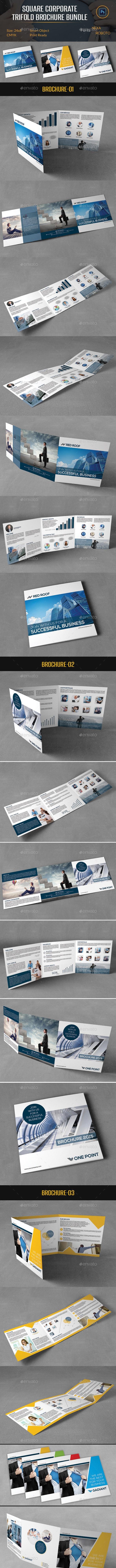 Square Corporate Trifold Brochure Bundle - Corporate Brochures