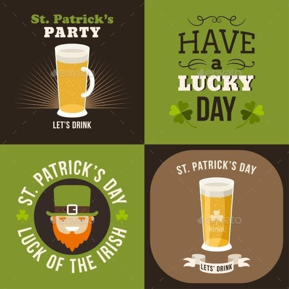 Set of St. Patricks Day Card