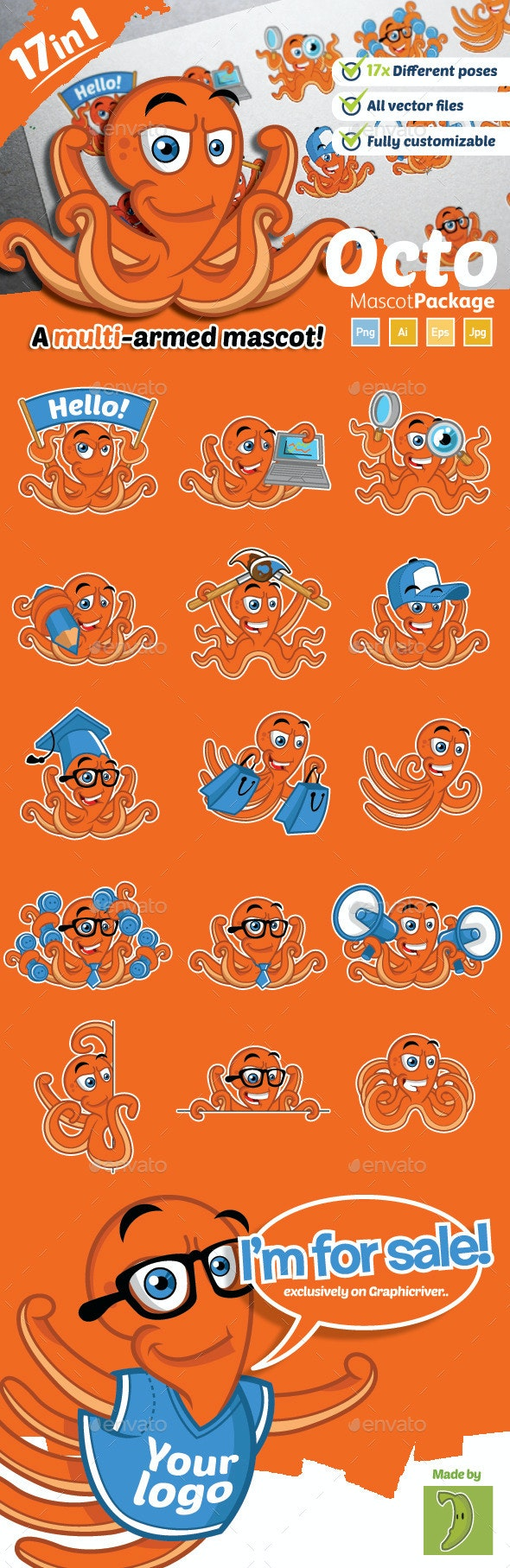 Octopus Mascot - Animals Characters
