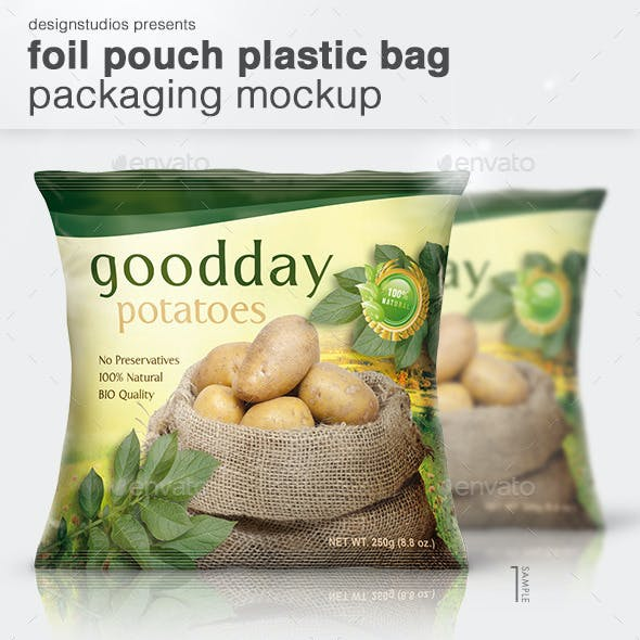 Foil Pouch Plastic Bag Packaging Mock-Up