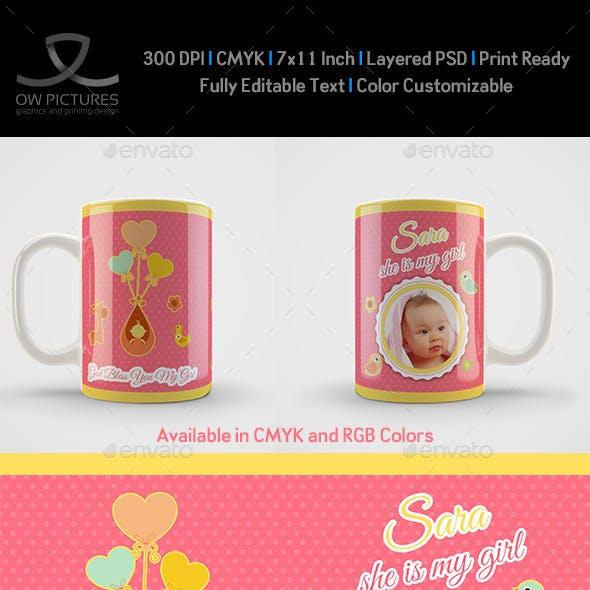 Girl Born Mug Art Design Template