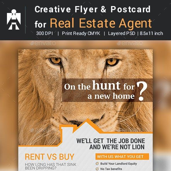 Creative Real Estate Agent / Real Estate Broker Flyer & Postcard