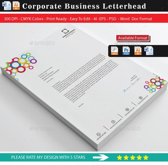 Colourful Bubbles Business Letterhead 2 (Updated) - Stationery Print Templates