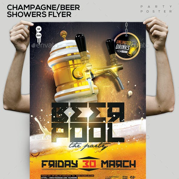 Beer/Champagne Pool Showers Flyer Flyer/Poster