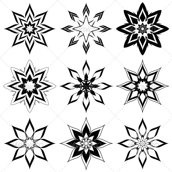 Nine Abstract Flowers/Snowflakes - Decorative Vectors
