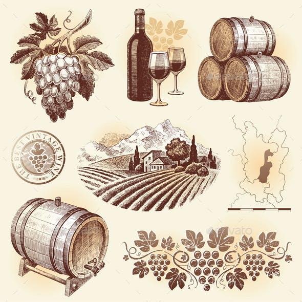 Wine and Winemaking Hand Drawn Set
