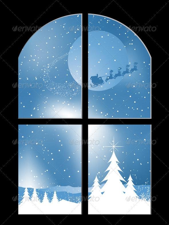 Santa in the sky - Characters Vectors