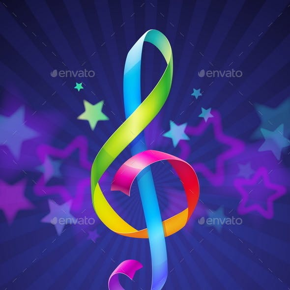Multicolored Treble Clef