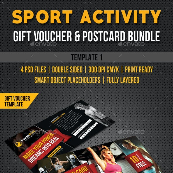 3 Sport Activity Gift Voucher and Postcard Bundle