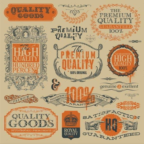 Vector Vintage Emblems, Signs and Labels
