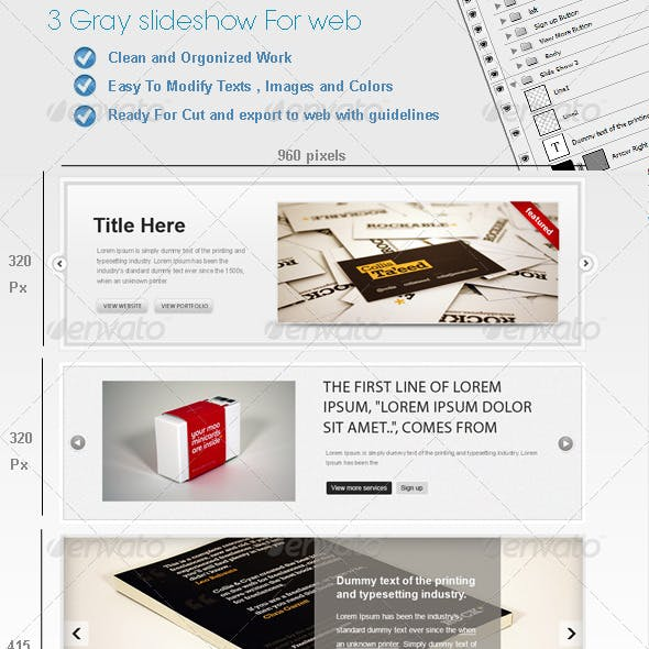 3 Gray Web SlideShows