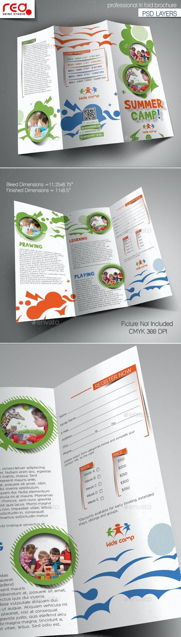 Summer Camp Trifold Brochure Template - Brochures Print Templates