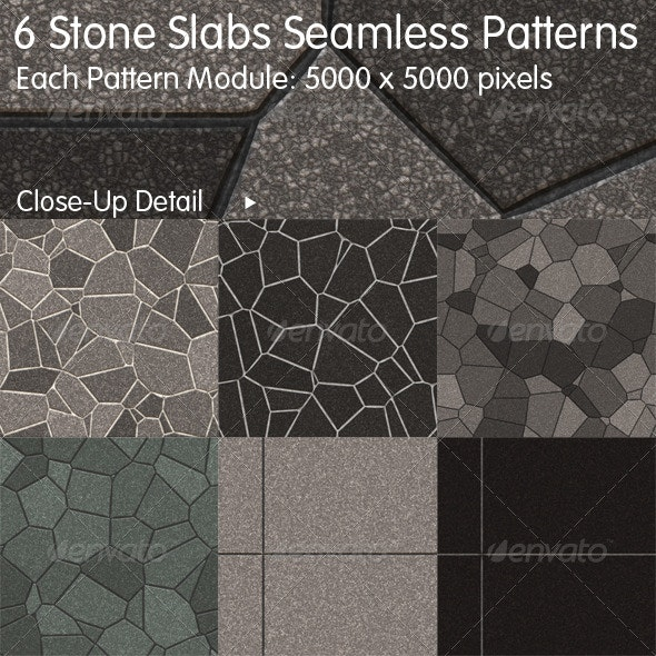 6 Stone Slabs Seamless Patterns - Urban Backgrounds