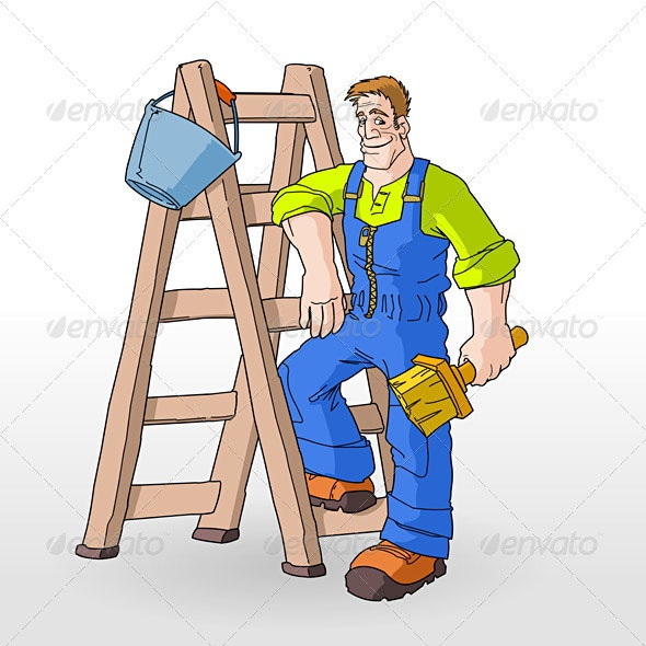Painter Painting With Ladder - People Characters