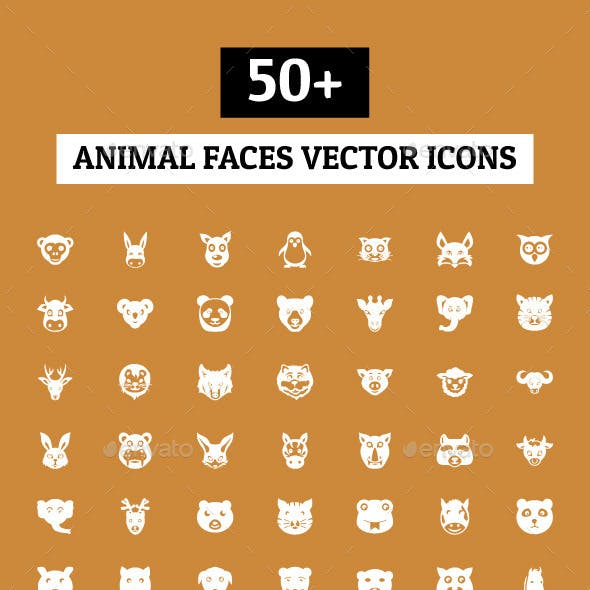 50+ Animal Faces Vector Icons