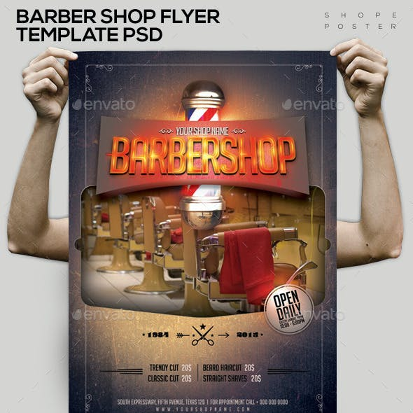 Barbershop Template PSD Flyer/Poster