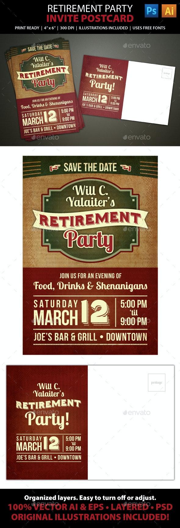Retirement Party Postcard Invitation - Invitations Cards & Invites