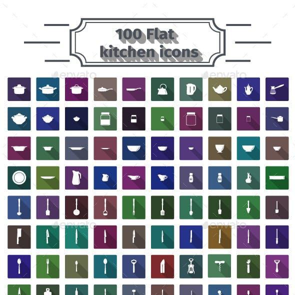 100 Flat Kitchen Icons