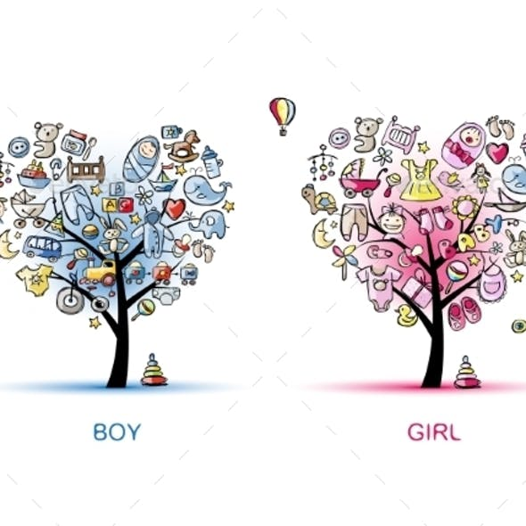 Heart Shaped Trees for Boy and Girl