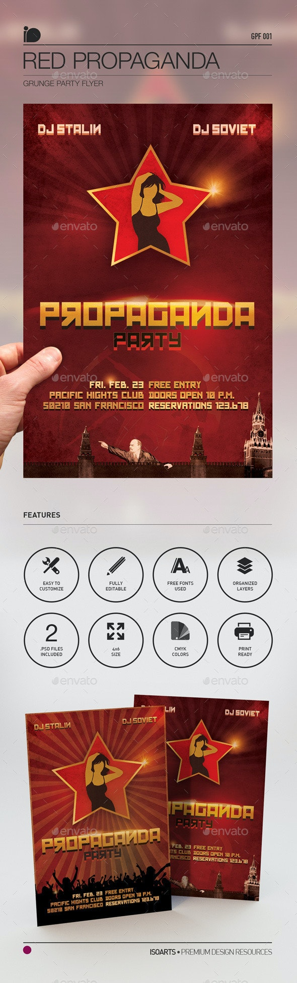 Grunge Party Flyer • Red Propaganda - Clubs & Parties Events