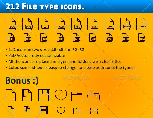 224 Simple file types icons - Software Icons