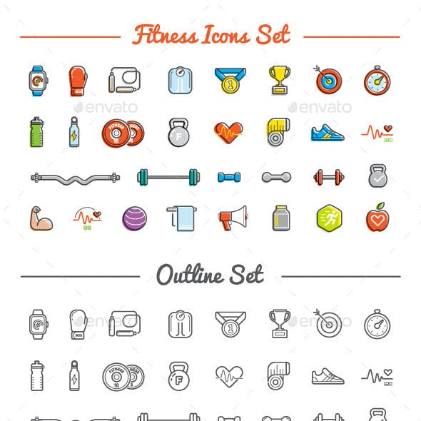 Great 30+30 Vector Fitness/Gym Icons Set