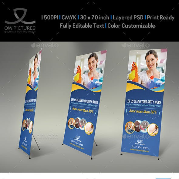 Cleaning Services Signage Roll Up Template Vol.2