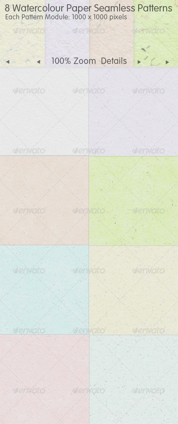 8 Recycled Watercolour Paper Seamless Patterns - Backgrounds Decorative