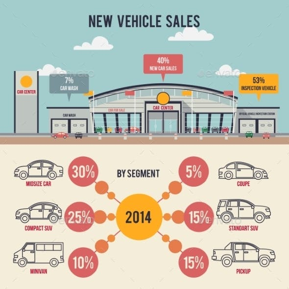 Car Center Illustration with Infographics