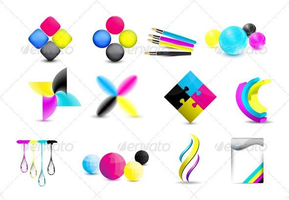 Vector cmyk design icons set - Concepts Business