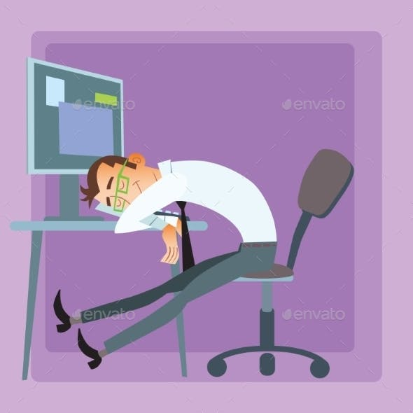 Worker Sleeps at Computer