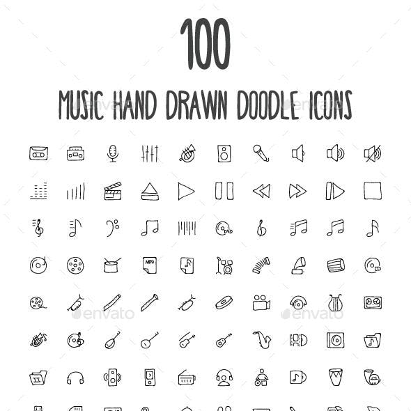 100 Music Hand Drawn Doodle Icons
