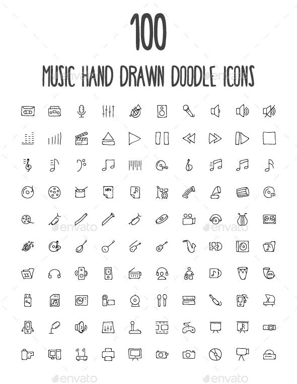 100 Music Hand Drawn Doodle Icons - Media Icons
