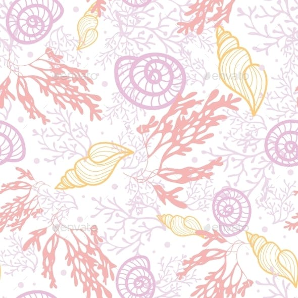 Sea Shells and Weed Pattern