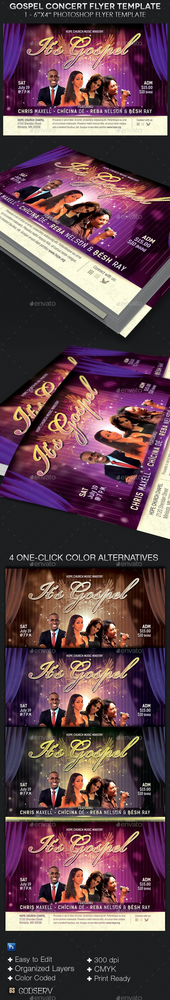 Gospel Concert Church Flyer Template - Church Flyers