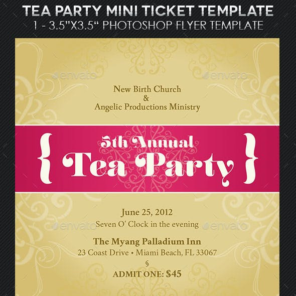 Tea Party Mini Ticket Template